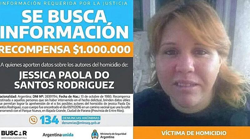 Ofrecen recompensa por datos para esclarecer el crimen de Jessica Dos Santos